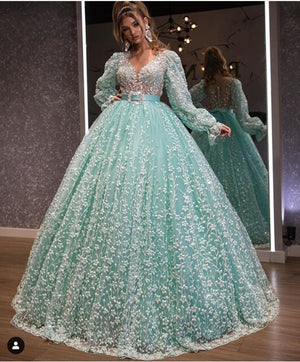 Haute Couture Champagne Formal Evening Dresses 2020 Long Sleeves Luxury Lace abendkleider Abiye Women Prom Dress - LiveTrendsX
