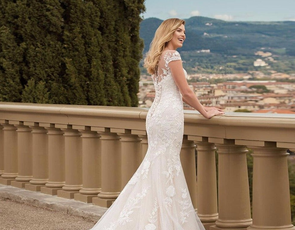 Appliques Lace Mermaid Wedding Dresses Elegant Vestido De Novia Sirena Cap Sleeve Floor Length Sim Trumpet Gowns - LiveTrendsX