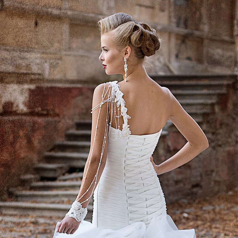 Appliques Beading Pearls Pleat White Trumpet Wedding Dresses With Ruffles Skirt Vestido De Noiva Sereia Princess Mermaid Gowns - LiveTrendsX