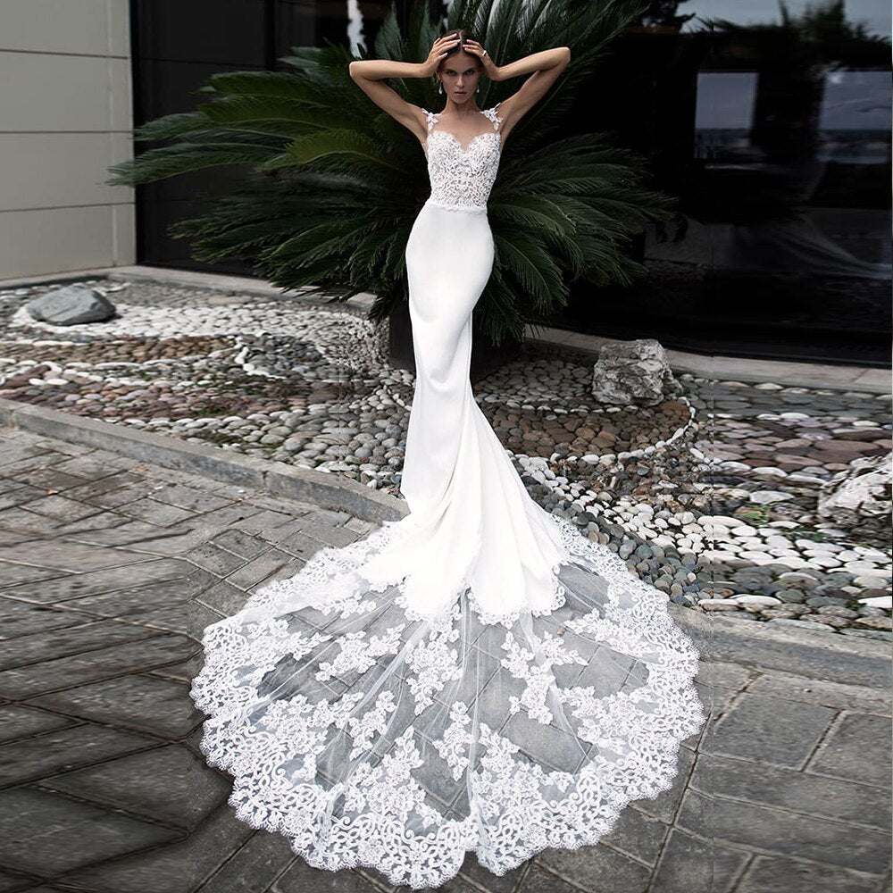 See Through Pearls Appliques Body Splice Skirt Satin Mermaid Wedding Dresses Vestido De Novia Sirena