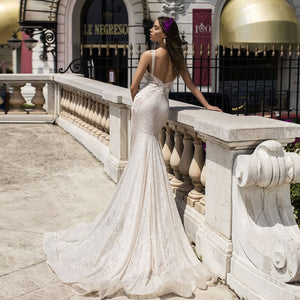 New Arrivals Beading Crystal Flowers Lace Mermaid Wedding Gowns Vestido De Novia Sirena Deep V-neck Backless Sexy Bridal Dress - LiveTrendsX