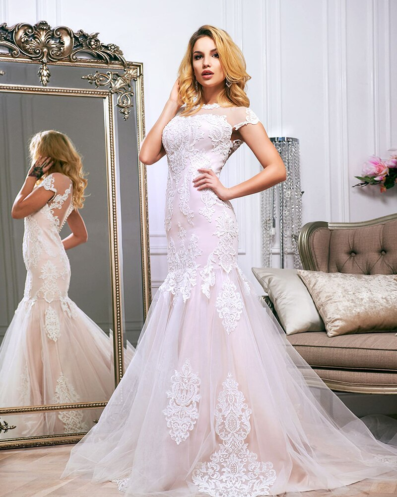 Ivory Appliques Tulle Outside Pink Stain Inside Elegant Mermaid Wedding Dresses Vestido De Novia Sirena - LiveTrendsX