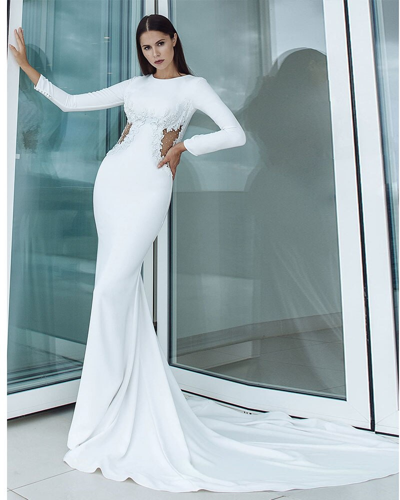 Beading Appliques Sexy Backless See Through Satin Mermaid Wedding Dresses Long Sleeve - LiveTrendsX