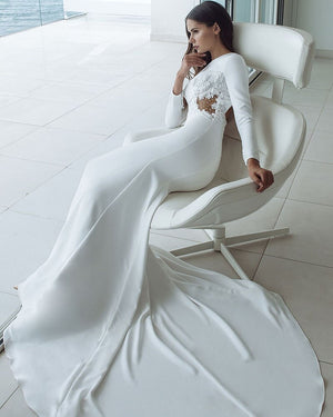 Beading Appliques Sexy Backless See Through Satin Mermaid Wedding Dresses Long Sleeve