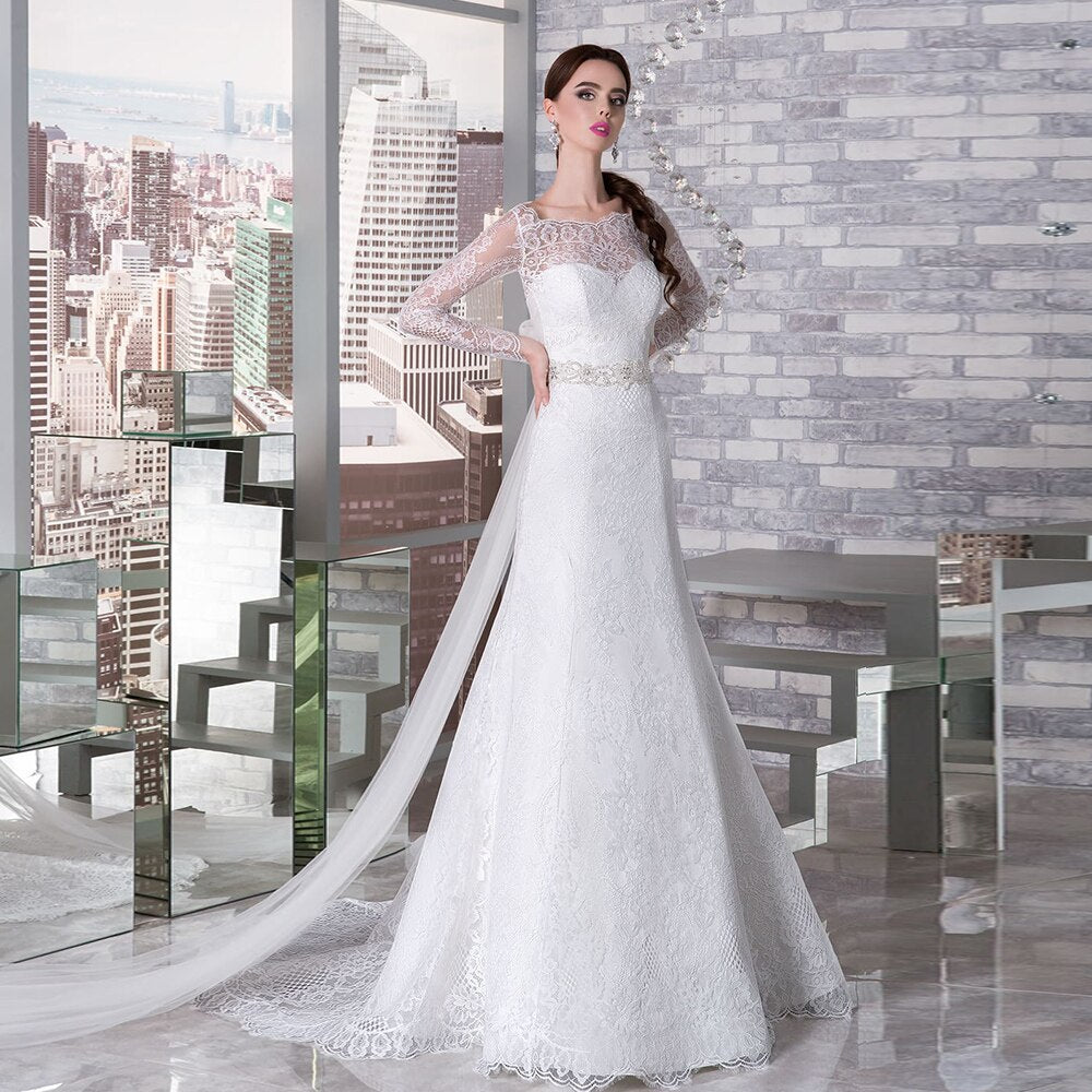 Custom Made 2020 Beading Crystal Lace Mermaid Wedding Dresses With Long Sleeve Detachable Shawl Bow - LiveTrendsX