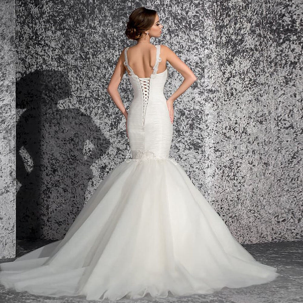 Custom Made Tank Shoulder Sweetheart Neck Lace Up Beaded Appliques Pleat Elegant Mermaid Wedding Dress