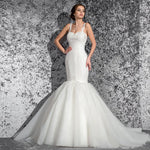 Custom Made Tank Shoulder Sweetheart Neck Lace Up Beaded Appliques Pleat Elegant Mermaid Wedding Dress - LiveTrendsX