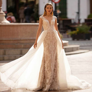 Custom Made Appliques Mermaid Wedding Dress With Beading Tulle Detachable Train 2 Pieces In 1 vestido de noiva 2 em 1 - LiveTrendsX