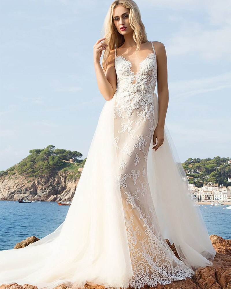 Beaded Appliques Flowers Mermaid Wedding Dresses With Removable Tail Vestido De Novia Sirena Shoulder Straps Elegant Bridal Gown