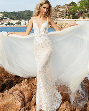 Beaded Appliques Flowers Mermaid Wedding Dresses With Removable Tail Vestido De Novia Sirena Shoulder Straps Elegant Bridal Gown - LiveTrendsX