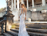 Long Sleeve Bow Appliques Lace Mermaid Wedding Dresses With Detachable Train - LiveTrendsX
