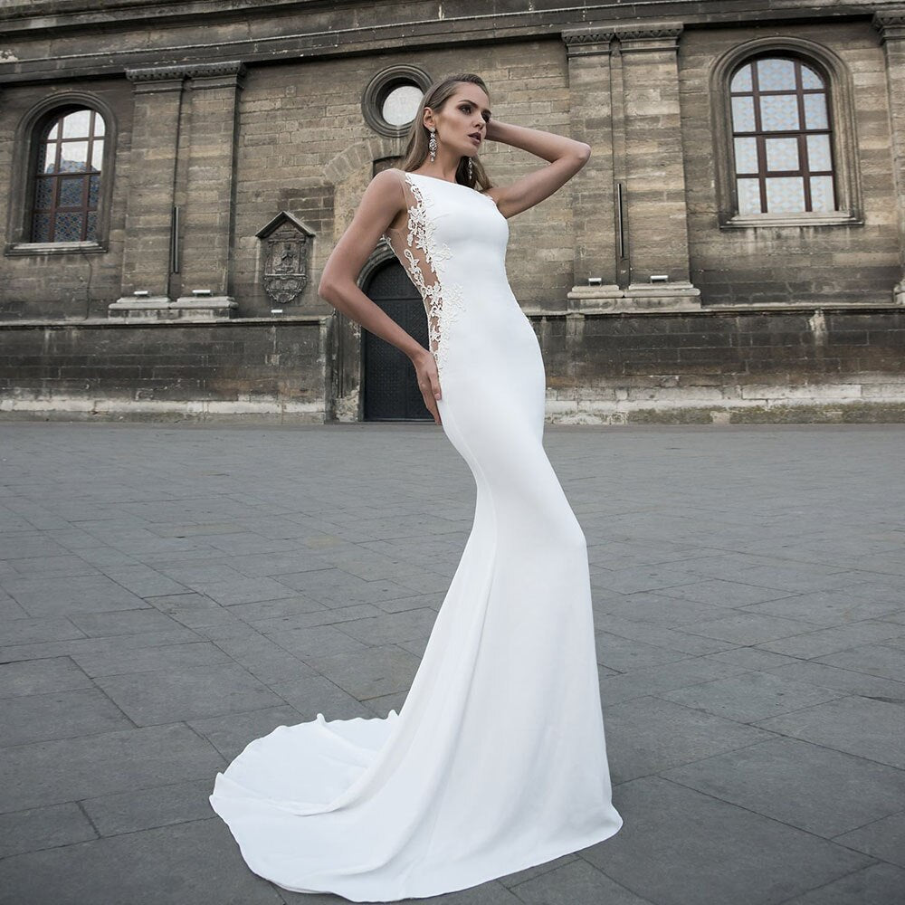 Satin Mermaid Wedding Dress Vestido De Novia Sirena O-neck Appliques Illusion Back Elegant Wedding Gowns - LiveTrendsX