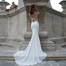 Load image into Gallery viewer, Satin Mermaid Wedding Dress Vestido De Novia Sirena O-neck Appliques Illusion Back Elegant Wedding Gowns - LiveTrendsX