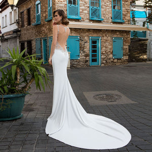 Shiny Beaded Crystal Satin Sexy Mermaid Wedding Gowns  Vestido Novia Sirena Elegant White Wedding Dresses - LiveTrendsX