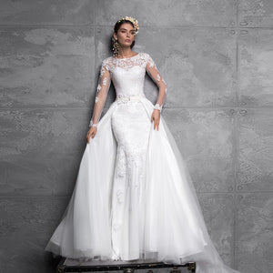 Long Sleeve Sexy Open Back Appliques Mermaid Wedding Dresses With Detachable Train Vestido De Noiva Sereia White Gowns