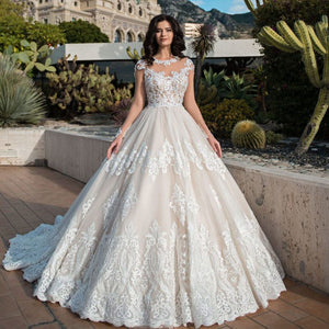Beading Sequined Appliques Princess Ball Gown Wedding Dresses Long Sleeve Robe Mariee O-neck Buttons Up Bridal Dress