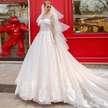 Beading Appliques Feathers Princess Ball Gown Wedding Dresses Plus Size