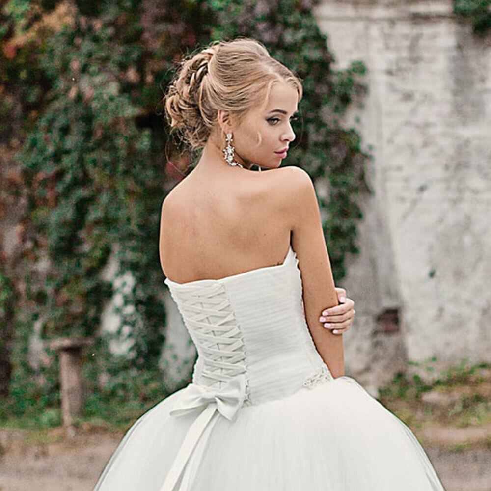Pearls Crystal Pleat Tulle Princess Wedding Dresses Robe Mariee Sweetheart Neck Lace Up Back White Wedding Gowns - LiveTrendsX