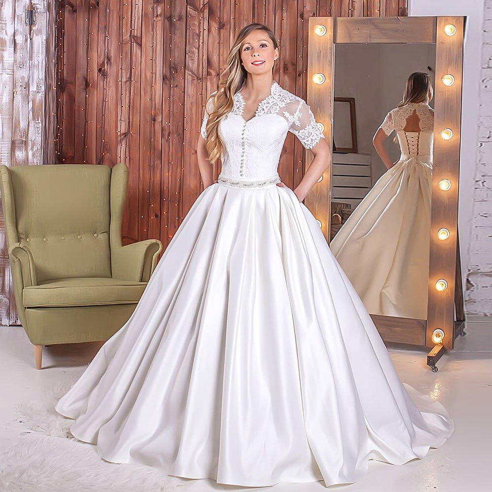 Custom Made Short Sleeve V-neck Open Back Lace Satin Ball Gown Wedding Dresses With Beaded Crystal Waist