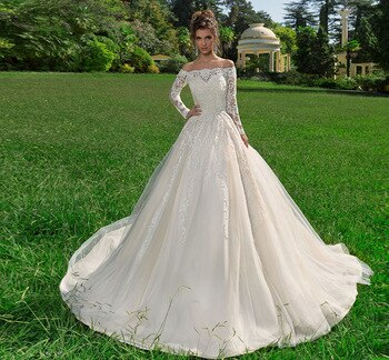 Custom Made Off The Shoulder Long Sleeve Appliques Princess Ball Gown Wedding Dress Plus Size - LiveTrendsX