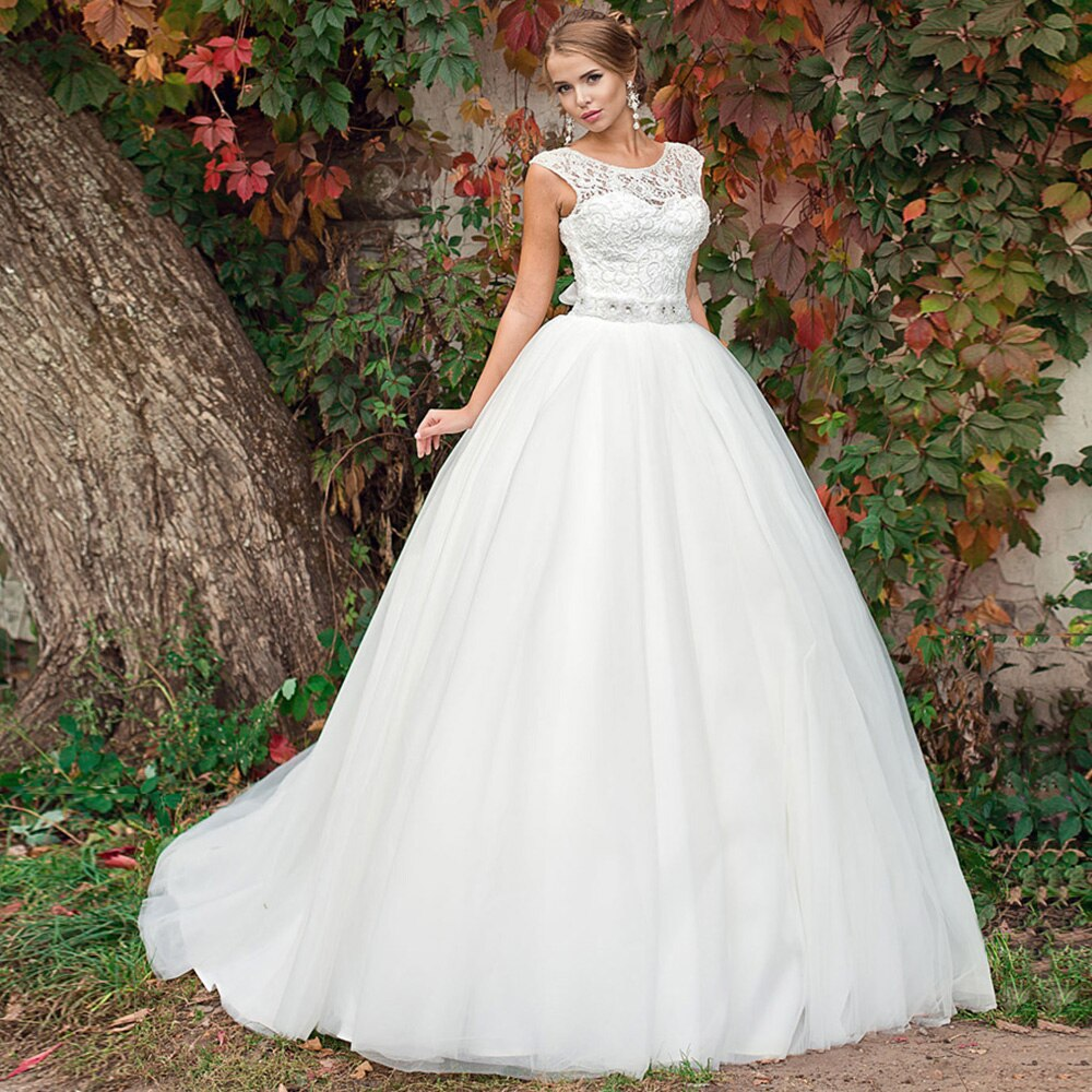 New Listing Lace Tulle Ball Gown Wedding Dresses With Detachable Beaded Crystal Belt Vestidos Blancos  Bride Gowns - LiveTrendsX