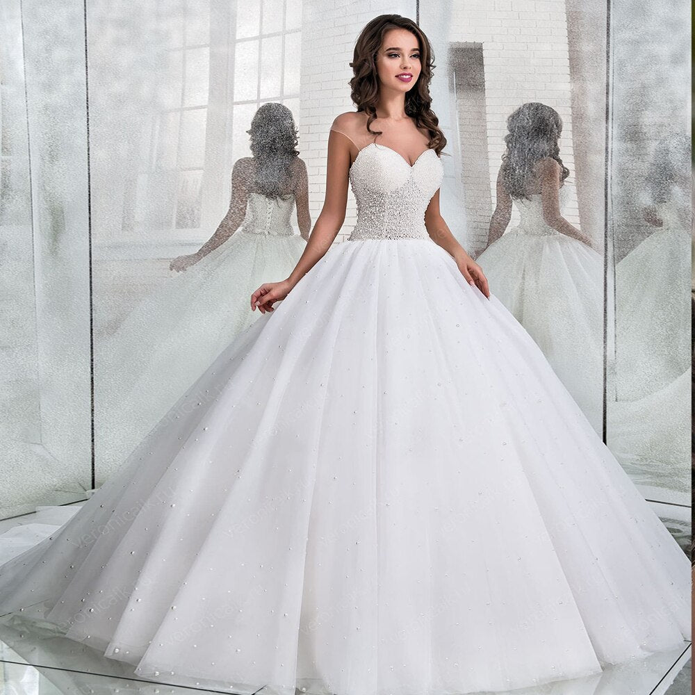 New Special Full Beading Pearls Princess Ball Gown Wedding Dresses Plus Size Vestito Da Sposa O-neck Lace Up White Bride Dress - LiveTrendsX