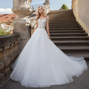 White Wedding Dress Robe Mariee Shiny Beading Crystal Sequined Waist Appliques Tulle Bridal Gowns Suknie Slubne