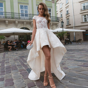 Appliques Lace High Long Wedding Dresses With Pockets Robe De Mariage O-neck Cap Sleeve Sexy Backless Illusion Bridal Gowns - LiveTrendsX