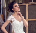 New Arrivals Wedding Dress Elegant Matrimonio V-neck Cap Sleeve Lace Up back Appliques Beading Princess Gowns Robe Blanche - LiveTrendsX