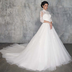 Newest Special Princess Wedding Dresses A-line Robe Femme High Neck Half Sleeve Appliques White Bridal Gowns Vestidos Blancos