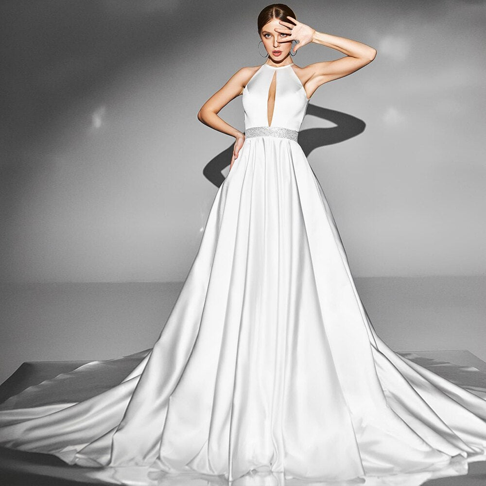 Shiny Waist Bow Satin Wedding Gowns Vestido Elegante  Sexy Backless Simple Bridal Dresses - LiveTrendsX