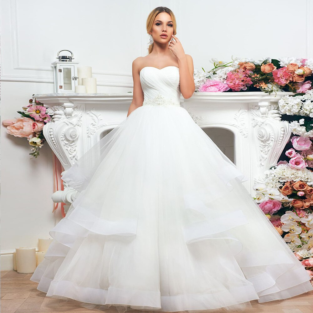 New Arrivals Wedding Gowns Robe De Mariée Sweetheart Neck Lace Up Appliques Beading Sequined Waist Pleat Bridal Gowns None Train - LiveTrendsX