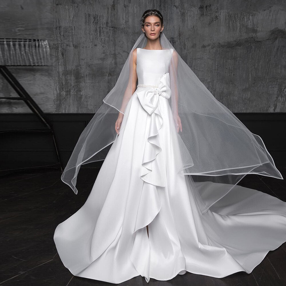 Gorgeous France Satin Wedding Dress With Detachable Bow Chapel Train Robe De Mariage Beading Pearls Waist Open Back A-line Gowns - LiveTrendsX