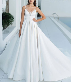 Best France Satin Wedding Gowns A-line With Chapel Train Plus Size China Shop Online Beading Appliques White Bridal Dress - LiveTrendsX