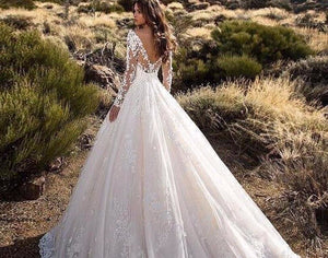 Long Sleeve Wedding Dress Bestidos De Novia O-neck Backless Appliques Lace Flowers A-line Wedding Gowns Bodas