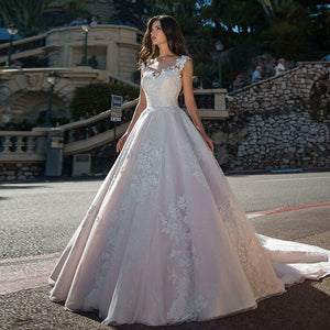 Beading Appliques Lace Wedding Dresses Plus Size Sukienka Na Wesele O-neck Buttons Up Sleeveless Princess Bride Gowns Casamento - LiveTrendsX