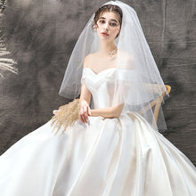 Load image into Gallery viewer, New Arrive Beading Short Sleeve Sweetheart Neck Lace Up Simple A-line Wedding Dresses - LiveTrendsX