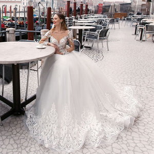 Pearls Appliques Layers Tulle A-line Wedding Dresses Long Sleeve Plus Size Vestido Branco O-neck Buttons Up Princess Bride Gowns - LiveTrendsX