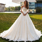 Princess A-line Wedding Dresses Vestido De Noiva Princesa Shoulder Straps Short Sleeve Zipper Up Appliques Beading Bridal Gowns - LiveTrendsX