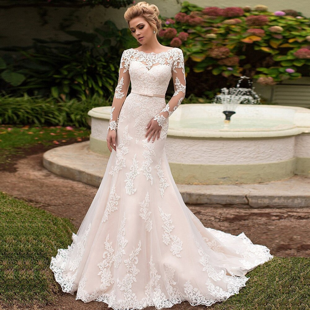 Long Sleeve Mermaid Wedding Dresses Vestido De Noiva Sereia Bow Appliques Trumpet Bridal Gowns - LiveTrendsX