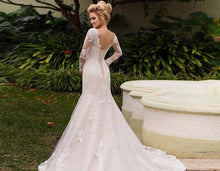 Load image into Gallery viewer, Long Sleeve Mermaid Wedding Dresses Vestido De Noiva Sereia Bow Appliques Trumpet Bridal Gowns - LiveTrendsX