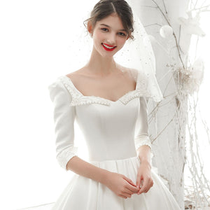 New Arrive Princess Satin A-line Wedding dress With Half Sleeve  Casamento Beading Pearls Sequined Bridal Gowns - LiveTrendsX
