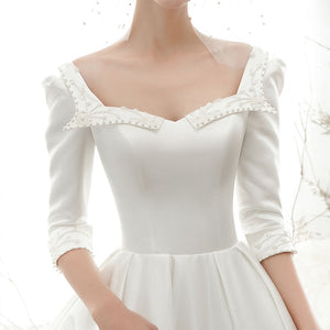 New Arrive Princess Satin A-line Wedding dress With Half Sleeve  Casamento Beading Pearls Sequined Bridal Gowns