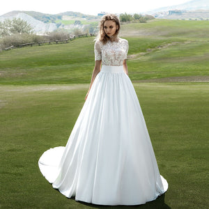 Vestidos De Novia 2020 Short Sleeve Buttons Up Back Pearls Appliques Lace See Through White Satin Bridal Wedding Dresses