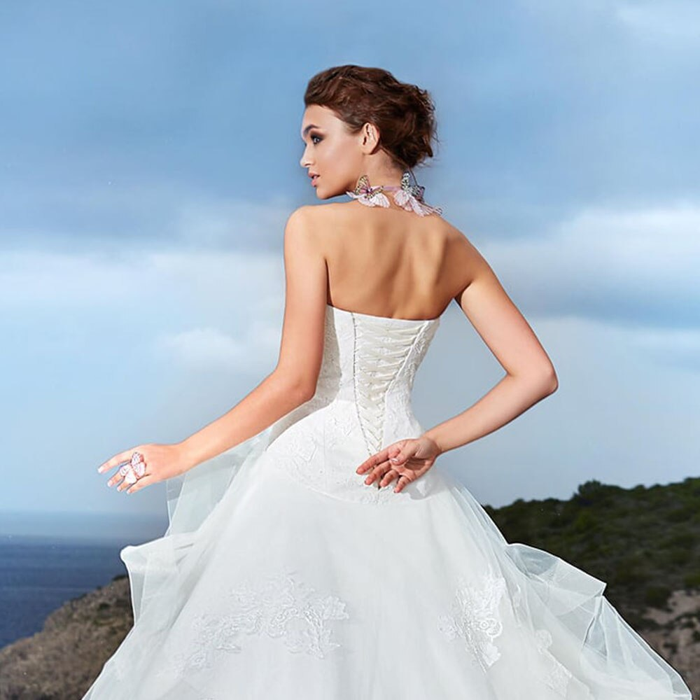 New Special Appliques Lace A-line Wedding Dresses Vestidos Strapless Neck White Bridal Gowns