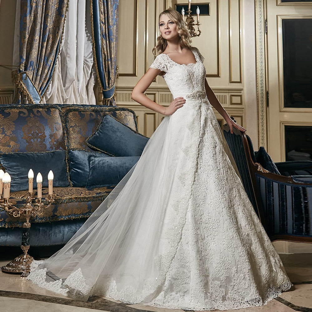 New Arrivals Sparkly Beaded Crystal Waist All Over Appliques Lace A-line Wedding Dresses With Detachable Train - LiveTrendsX