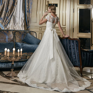 New Arrivals Sparkly Beaded Crystal Waist All Over Appliques Lace A-line Wedding Dresses With Detachable Train