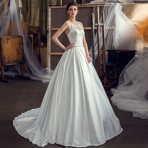 Custom Made Pearls Waist Beading Sequined Lace Satin Wedding Dress Suknia Slubna O-neck A-line Bridal Gowns