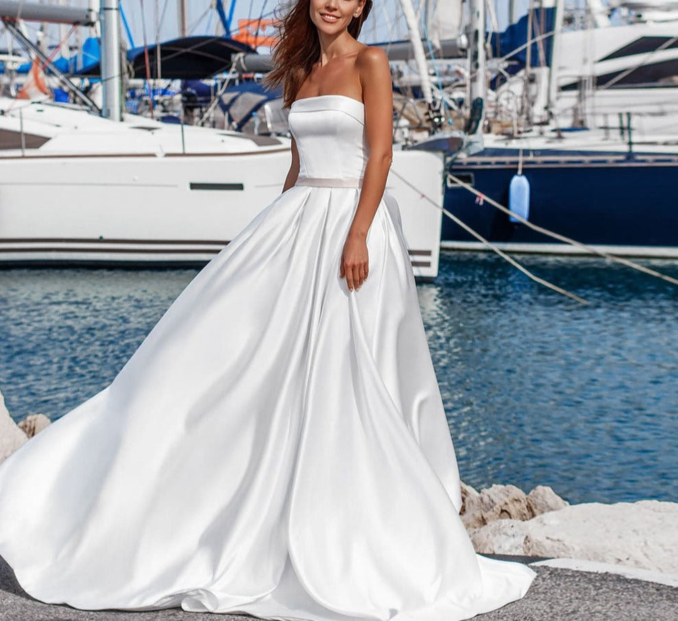 Best France Satin Wedding Dress A-line Plus Size  Suknia Slubna Strapless Lace Up Back Simple Bridal Gowns