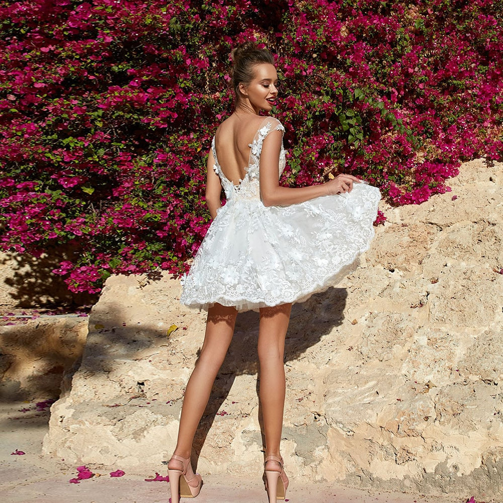 Cap Sleeve Backless Above Knee Short Wedding Dress With Beading Crystal Appliques Flowers  Summer Wedding Gowns - LiveTrendsX